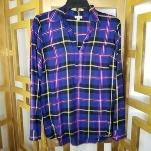 Splendid Plaid Purple Yellow Long Sleeve Shirt Top